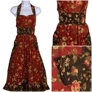 Long Floral Rose Print Red Brown Ruffle Apron